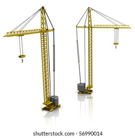 3d illustration of two building cranes over white background