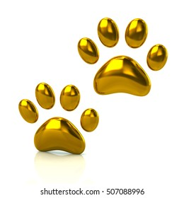 3d illustration of two cat's golden paws  isolated on white background