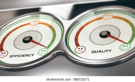 3D illustration of two dials with needle pointing the maximum quality and efficiency, Business or Marketing concept of customer relationship management, CRM.