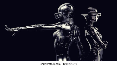 3D illustration with two fashion robots on black background.