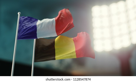 3D Illustration. Two flags waving on wind. Night stadium. Championship 2018. Soccer. France versus Belgium