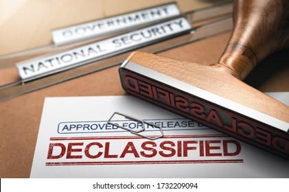 Illustration 3D de deux dossiers et d'un cachet de caoutchouc avec le mot déclassifié imprimé sur un document. Déclassification des données sensibles et concept de liberté de l'information.