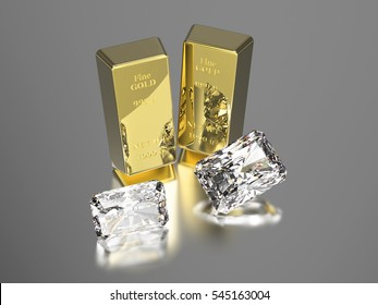 3D illustration two gold bullions and two diamonds, gold bar on a gray background