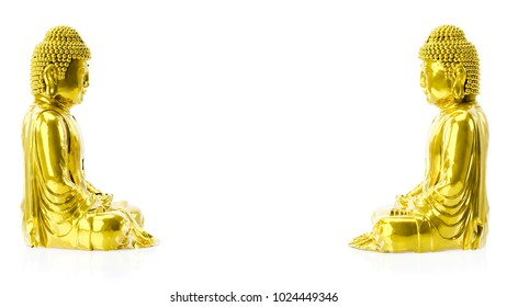 3d illustration of two golden buddha figures with copy space between them