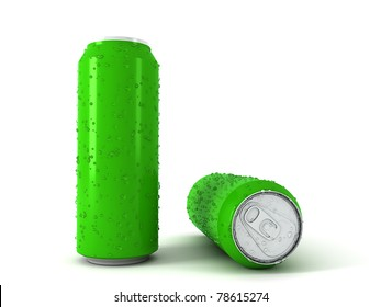 3d illustration of two green aluminum cans over white background