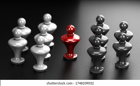 3D illustration of two groups of white and grey pawns and a mediator in the middle. Abstract concept of arbitration between two parties.
