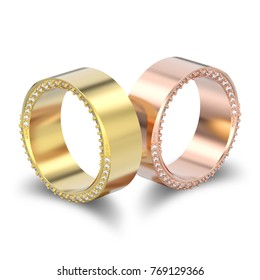 3D illustration two isolated yellow and rose gold elegant illusion decorative diamond rings with shadow on a white background