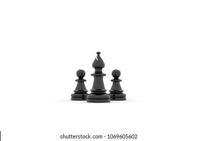 3d illustration - Two pawns follow a Bishop leader on white background