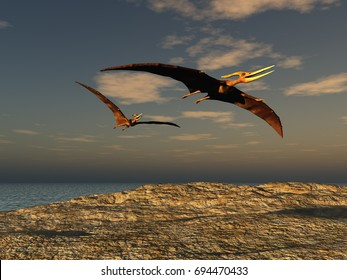 3D illustration of two pteranodons