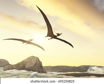 3d illustration of two pteranodons flying over rocks in the sea