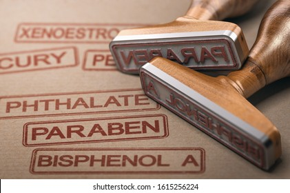 3D illustration of two rubber stamps with the words paraben, bisphenol A and phthalate printed on paper background. Endocrine disruptors concept.