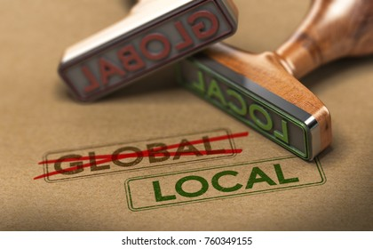 3D illustration of two rubber stamps with words global and local over kraft paper background, Concept of consumption