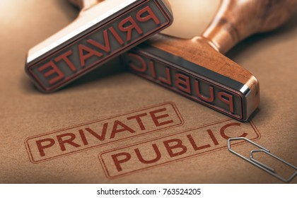 3D illustration of two rubber stamps over paper background. Private versus public sectors concept.
