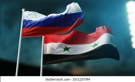 3D illustration. Two waving on wind flags. Russia and Syria,