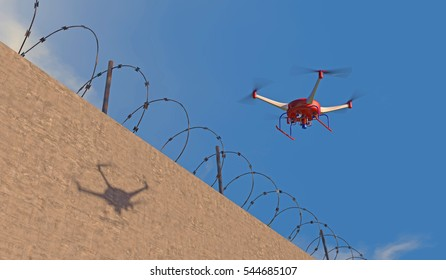 3D illustration of a UAV drone patrolling along a concrete wall with barbed wire. Fictitious red, white and blue drone,  motion blur for dramatic effect.