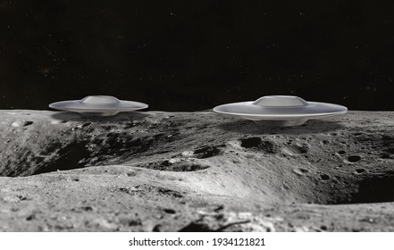 3d illustration of UFOs on the Moon