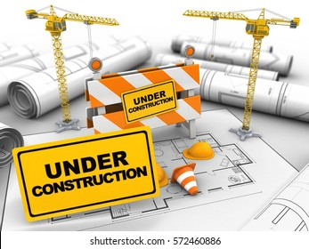 3d illustration of under construction stand over house plan background with two cranes