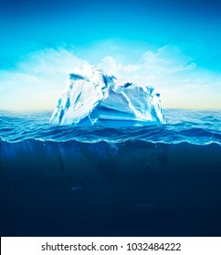 3d Illustration of underwater iceberg with sea on background. Global Warming.