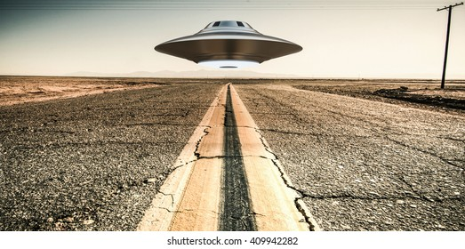 3d illustration of a unidentified flying object on a empty desert road.