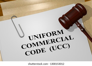 3D illustration of UNIFORM COMMERCIAL CODE (UCC) title on legal document
