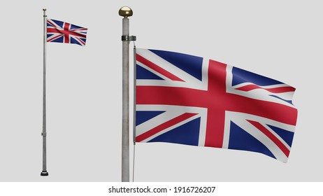 3D illustration United Kingdom flag waving in wind. Britain banner blowing, soft and smooth silk. Cloth fabric texture ensign background. Use it for national day and country occasions concept.