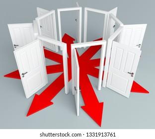 3d illustration unlimited possibilities many open doors