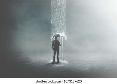 3D Illustration von Geschäftsleuten unter Regen, surreales Konzept