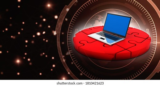 3d illustration unsolved Jigsaw Puzzle in the display of laptop