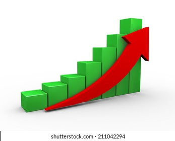 3d illustration of upward moving progress arrow and business progress bars