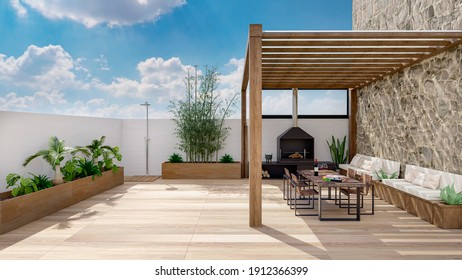 3D illustration of urban patio with cozy fireplace and natural plants. Table and chairs under teak wood pergola and wooden flooring.