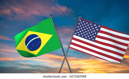3D illustration of USA and Brazil flag