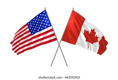3d illustration of USA and Canada flags