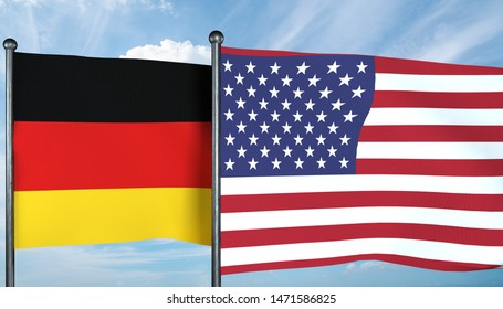3D illustration of USA and Germany flag