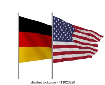 3d illustration of USA and Germany flags waving / Flags of countries