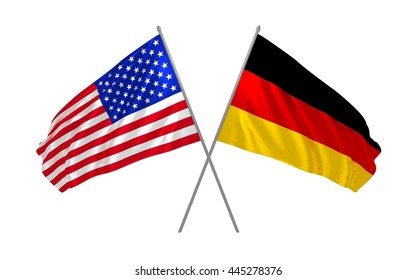 3d illustration of USA and Germany flags together