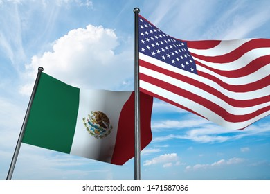3D illustration of USA and Mexico flag