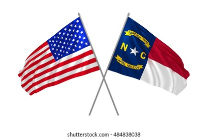 3d illustration of USA and North Carolina State flags waving