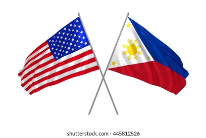 3d illustration of USA and Philipines flags waving in the wind