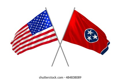 3d illustration of USA and Tennessee State flags waving
