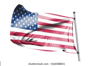3d illustration of USA in White Background. USA Flag on pole for Independence day. The symbol of the state on wavy cotton fabric.