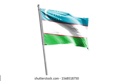 3d illustration of Uzbekistan in White Background. Uzbekistan Flag on pole for Independence day. The symbol of the state on wavy cotton fabric.