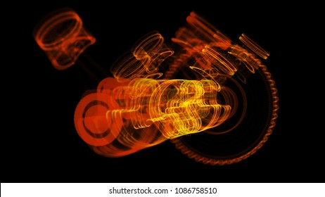 3D illustration of V8 motor with working pistons and crankshafts X-Ray view