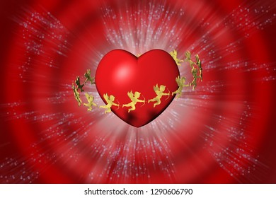 3D illustration. Valentine, heart and cupid. Background red.