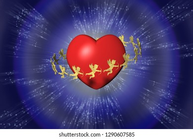 3D illustration. Valentine, heart and cupid. Background blue.