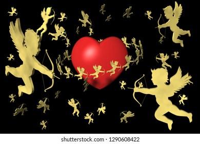 3D illustration. Valentine, heart and cupid. Background black, night.