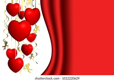 3D illustration. Valentine's day. Cupid with hearts and space for text.
