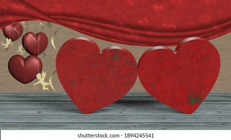 3D illustration. Valentine's day. Image with hearts, wishes and gift on the feast of love.