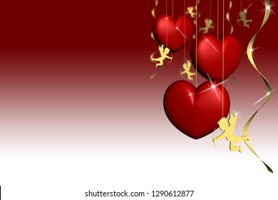 3D illustration. Valentine's day. red hearts with space for text.