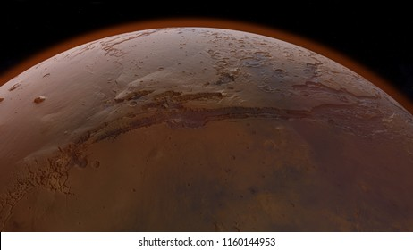 3D illustration of Valles Marineris on Mars planet surface with craters