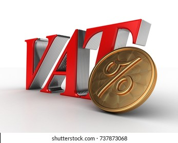 3D Illustration of Value Added Tax (VAT) idea with a golden coin with percent sign in focus